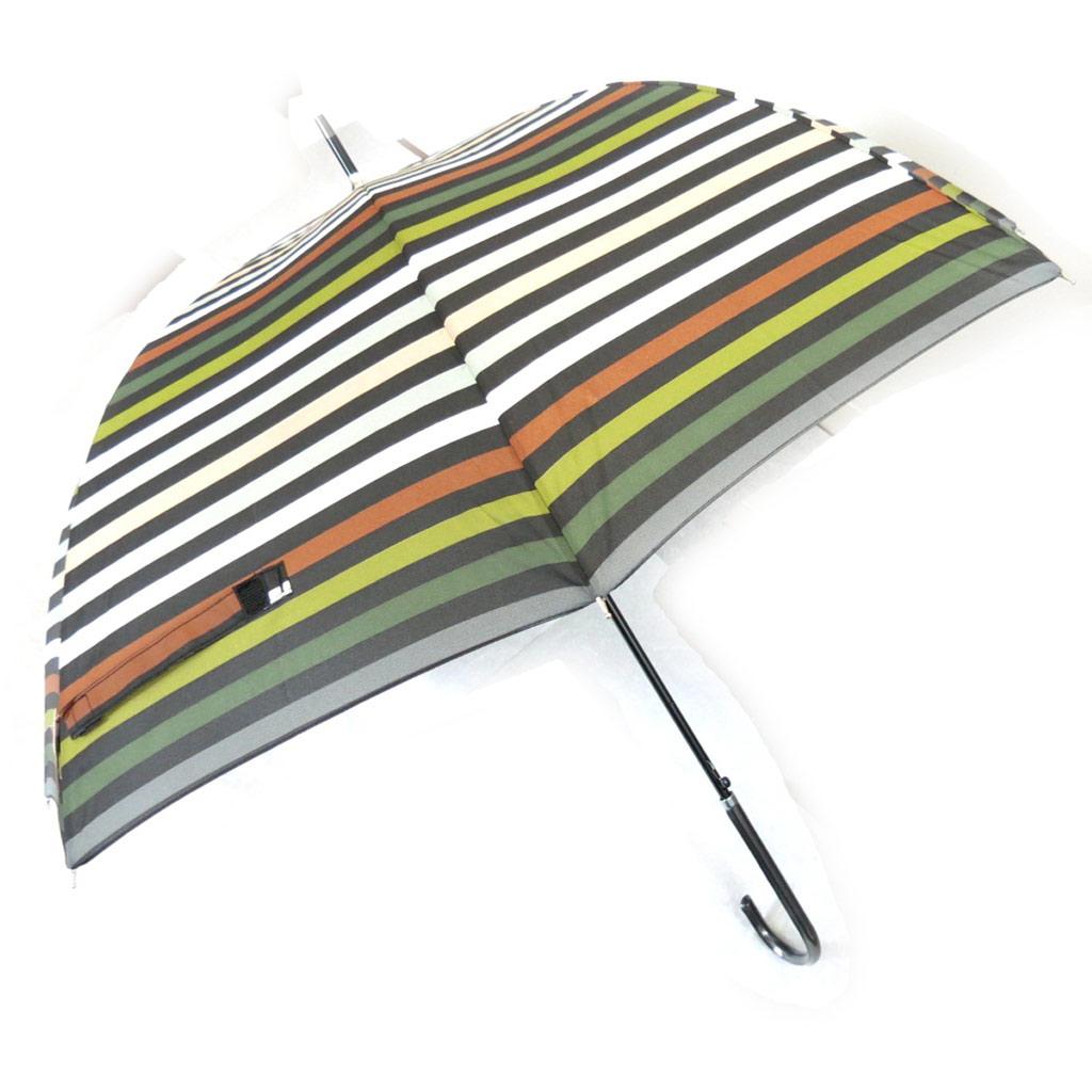 Parapluie canne \'Coloriage\' marron vert gris - [K0870]