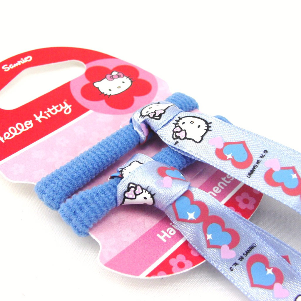 Lot de 2 élastiques + rubans \'Hello Kitty\' Bleu Ciel - [F4567]