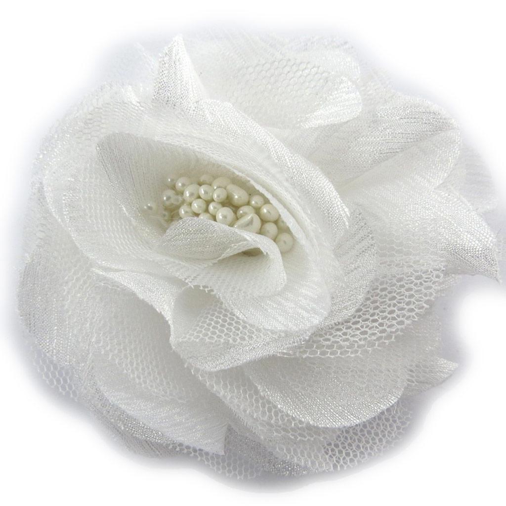 Broche Créateur \'Rose Féérique\' blanc - [K0945]