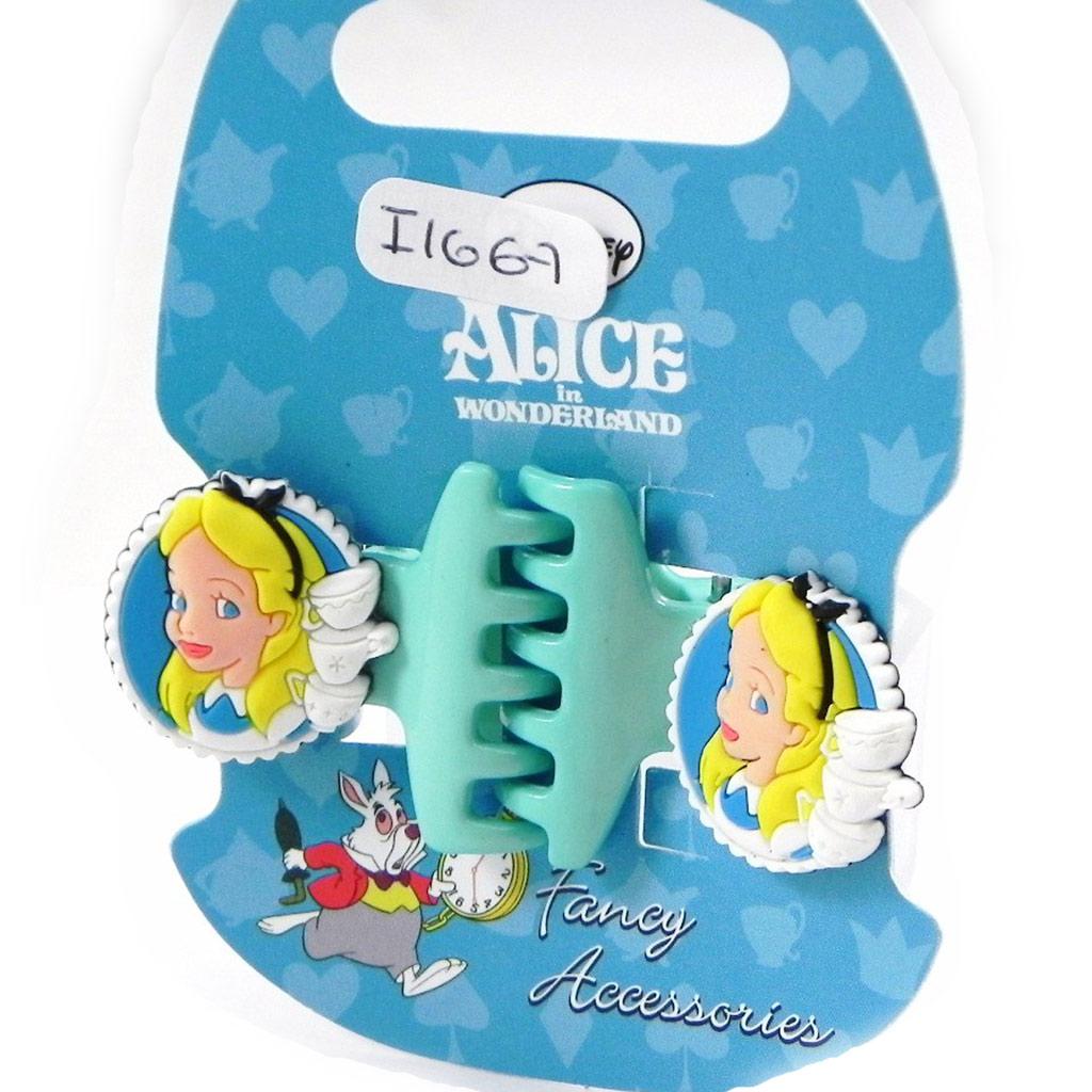 Paire de pinces \'Alice au Pays des Merveilles\' turquoise - [I1667]