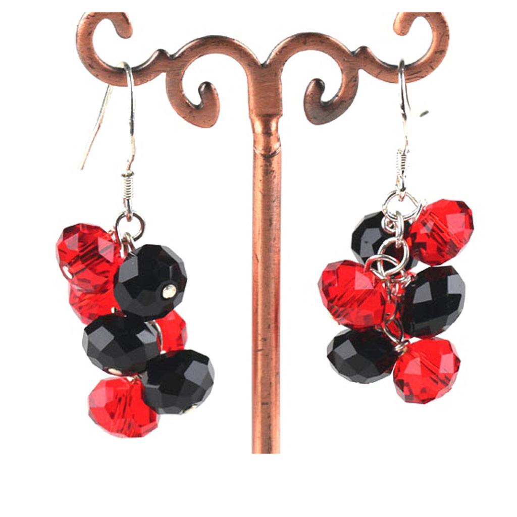 Boucles créateur \'Mineralia\' rouge noir - [K1088]