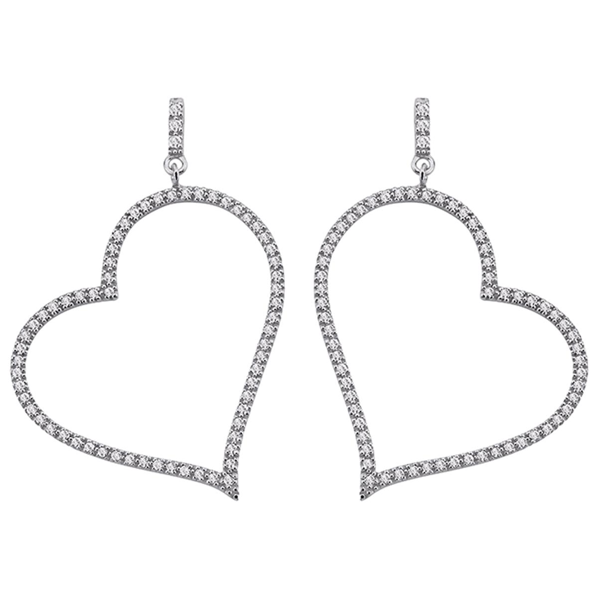 Boucles Argent \'Love\' Blanc - [M1159]