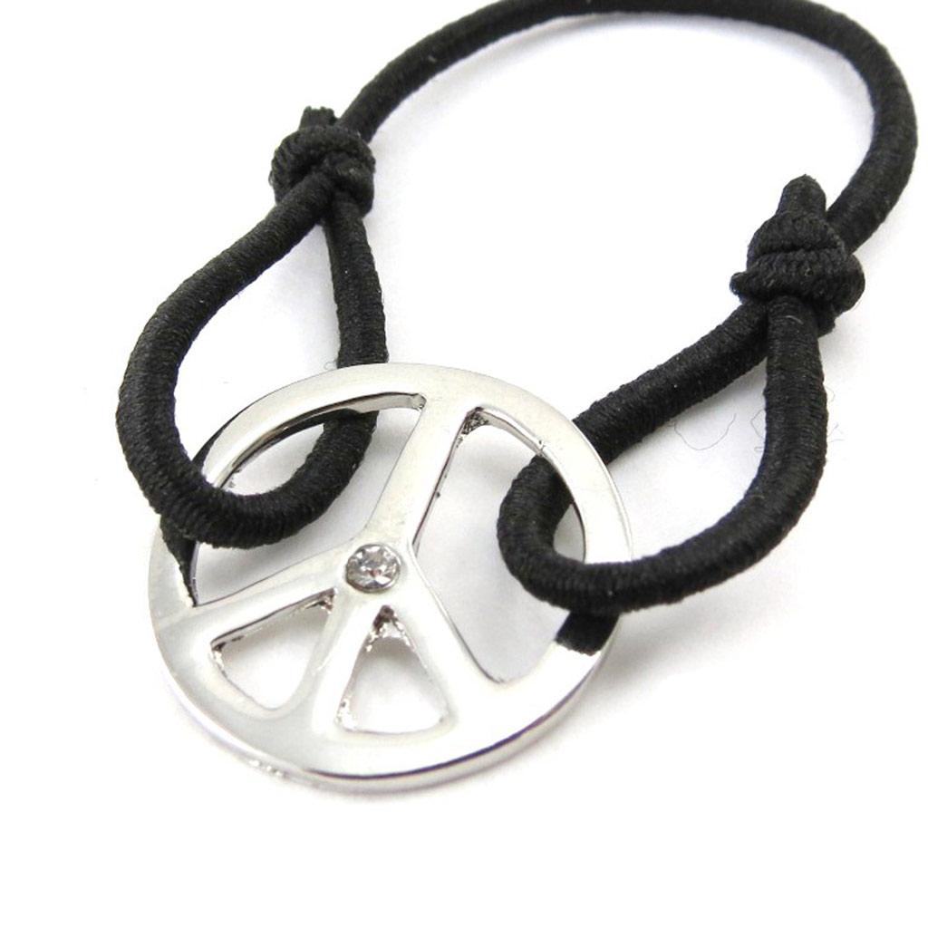 Bracelet fantaisie \'Peace\' noir - [J1115]