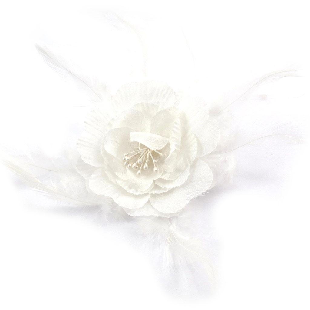 Chouchou \'Scarlett\' blanc ivoire - [K1320]