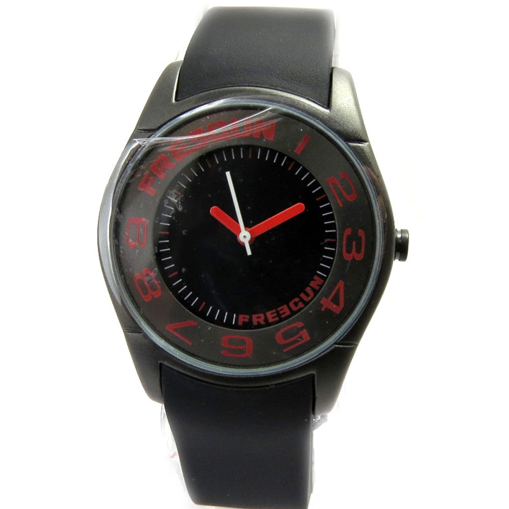 Montre silicone \'Freegun\' noir rouge (slim) - [M1239]