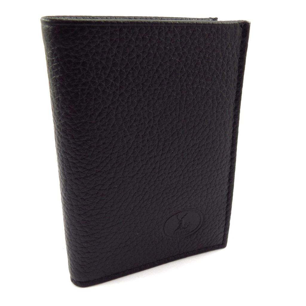 Porte-cartes Cuir \'Frandi\' noir grainé - [K1337]