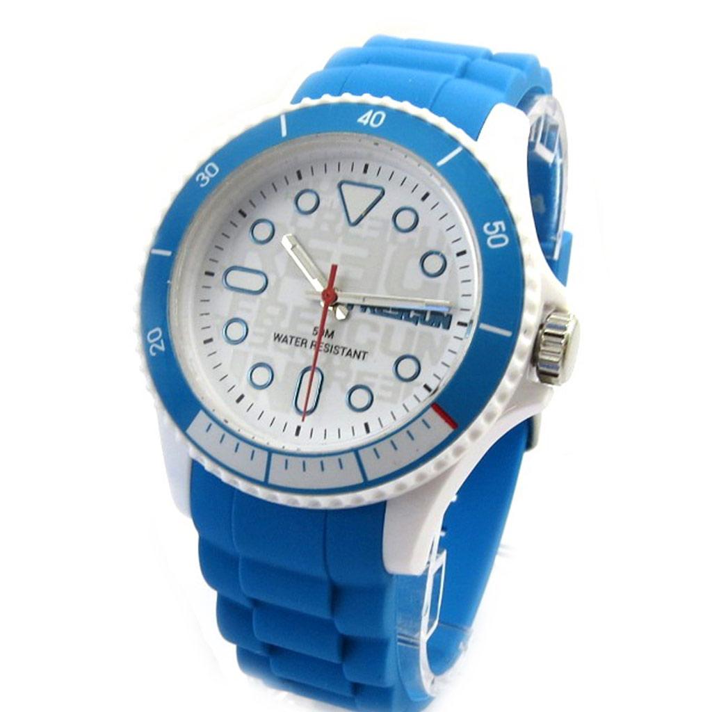 Montre silicone \'Freegun\' bleu blanc - [M1255]