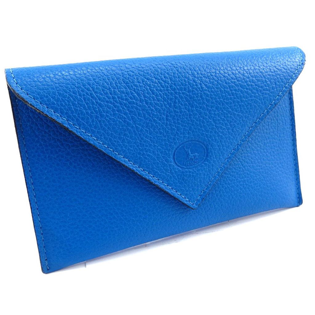 Porte Papiers de voiture Cuir \'Frandi\' bleu grainé (ultra plat) - [K1339]