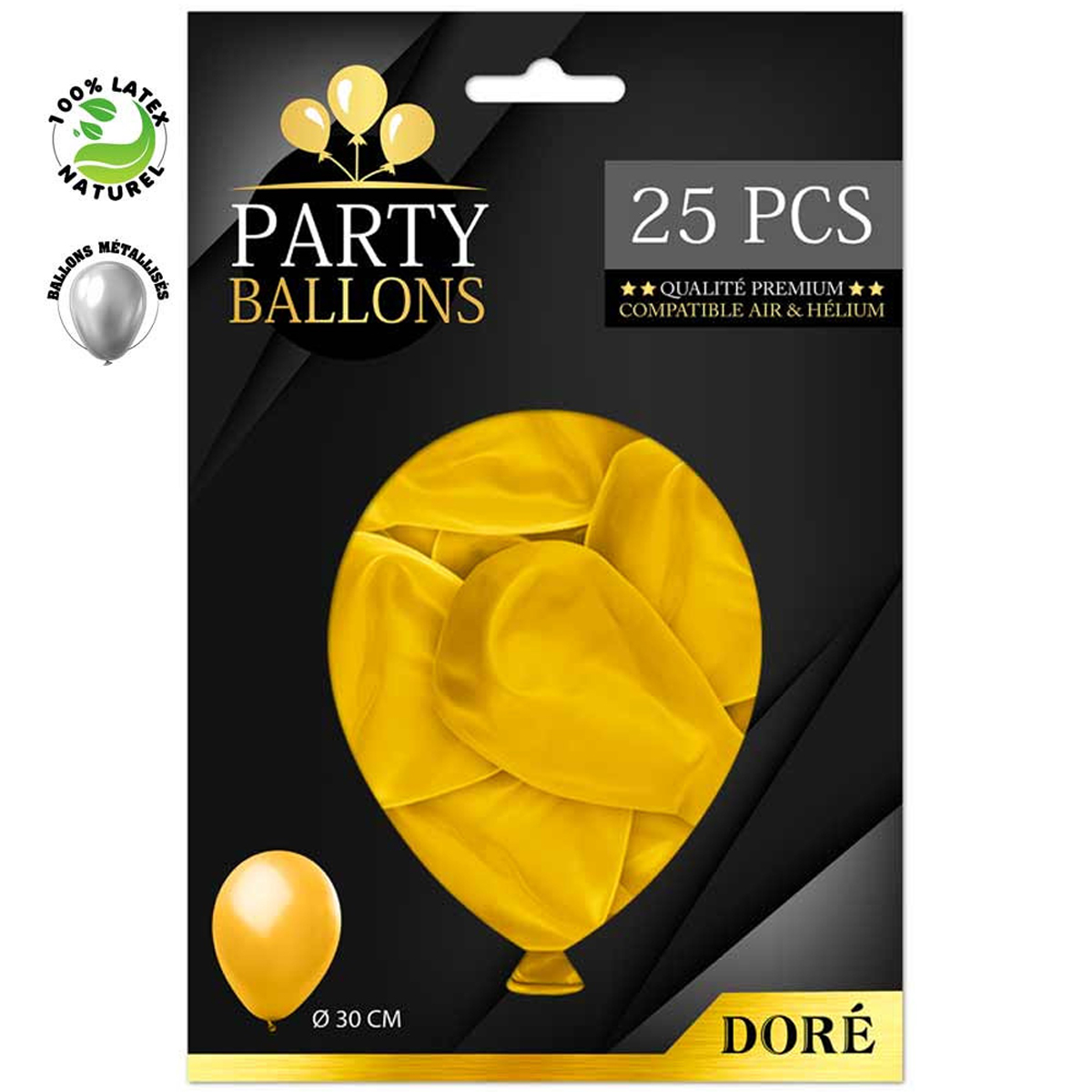 25 ballons métalliques latex \'Coloriage\' doré - 30 cm - [R0421]