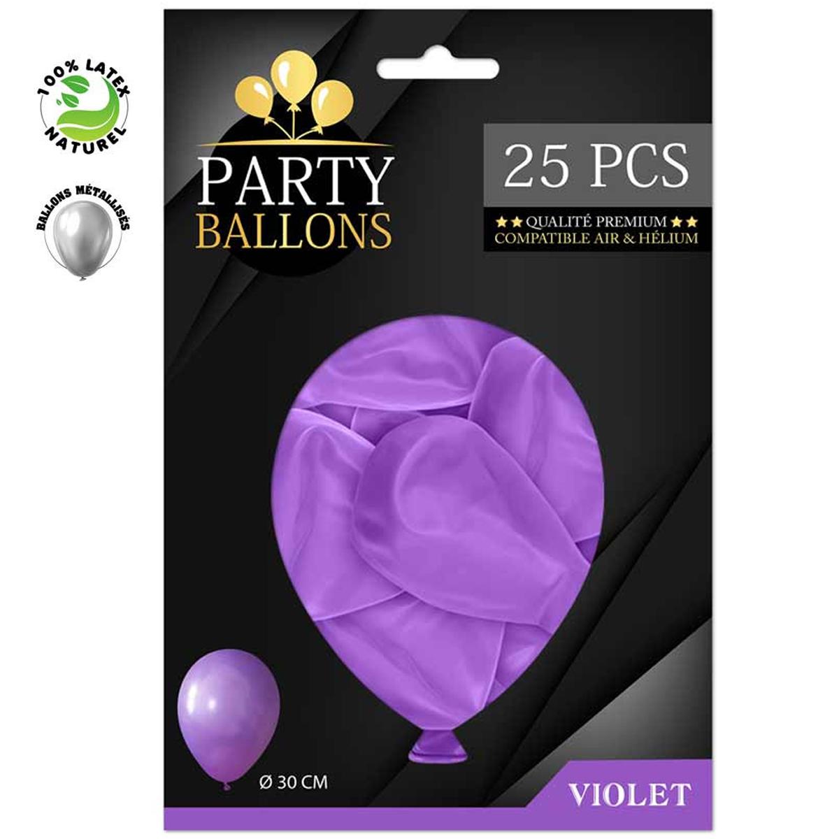 25 ballons métalliques latex \'Coloriage\' violet - 30 cm - [R0428]