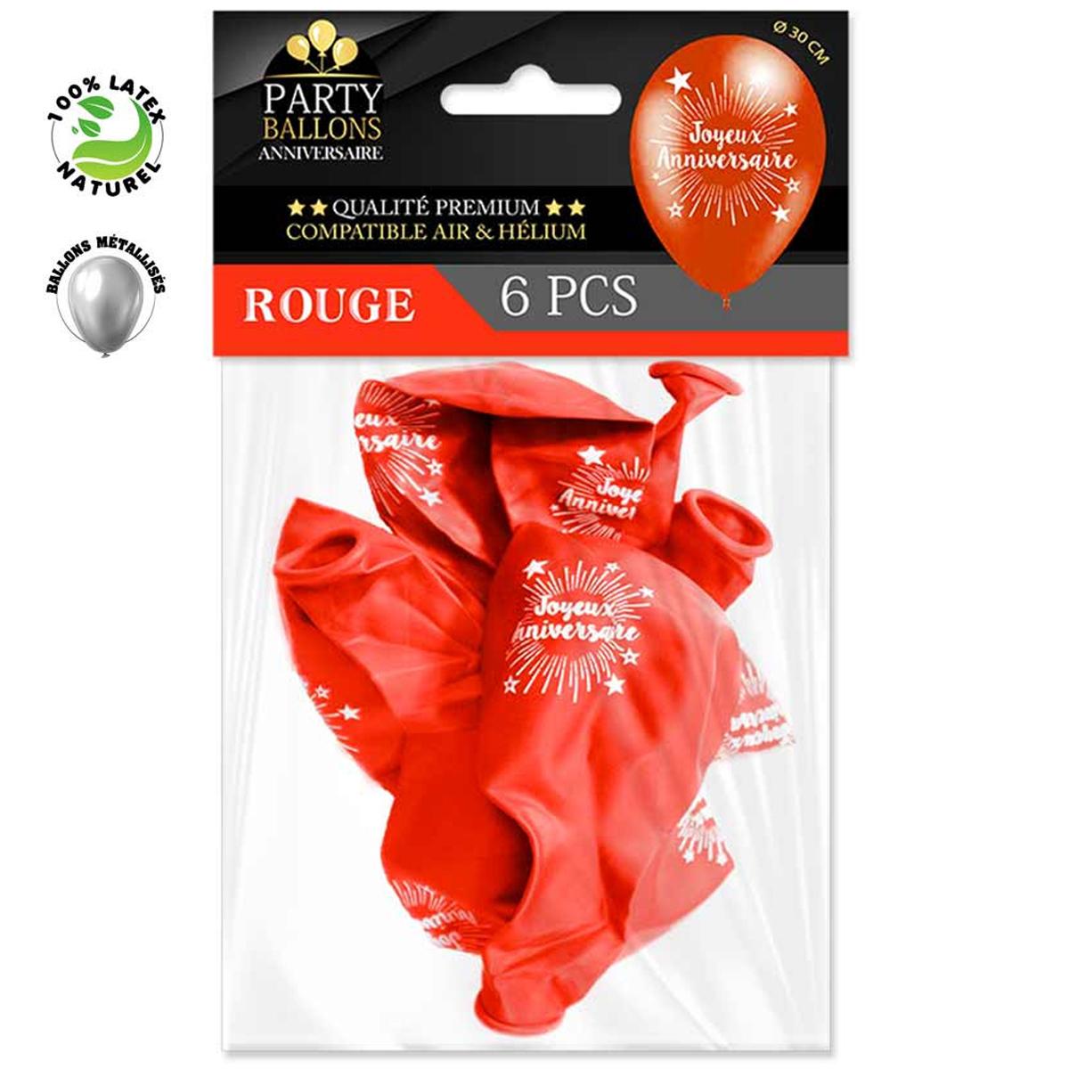 6 ballons métalliques latex \'Joyeux Anniversaire\' rouge - 30 cm - [R0438]
