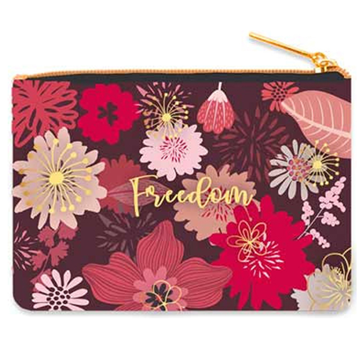 Trousse à maquillage velours \'Freedom\' rose - 20x15 cm - [R0446]