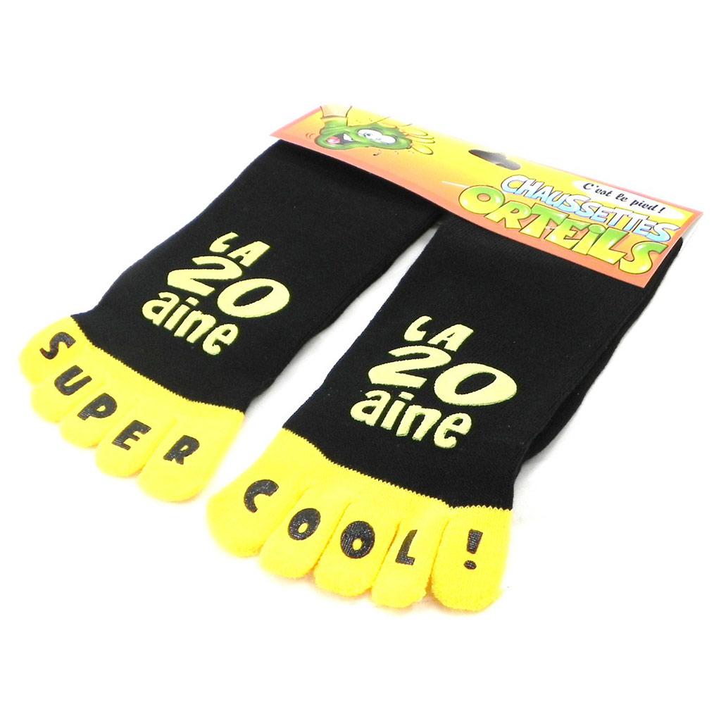 Chaussettes anniversaire \'La 20aine\' jaune noir - [I2505]