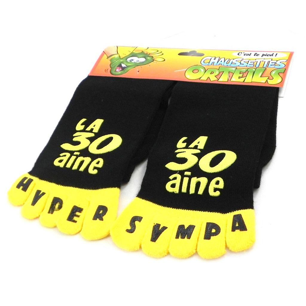 Chaussettes anniversaire \'La 30aine\' noir jaune - [I2506]