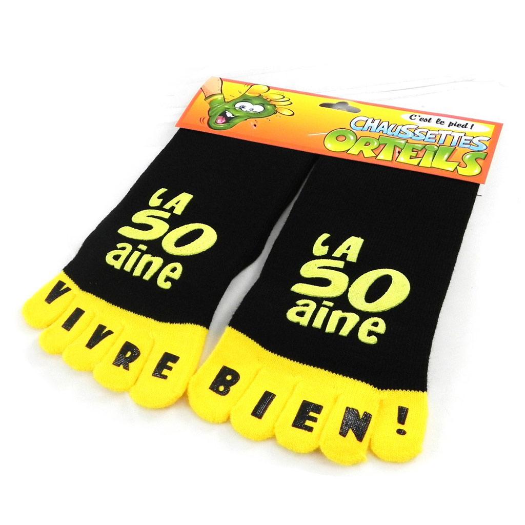 Chaussettes anniversaire \'La 50aine\' noir jaune - [I2508]