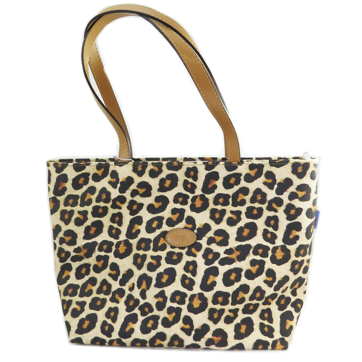 Sac shopping artisanal \'Léopard\' marron - 34x225x11 cm - [R0462]
