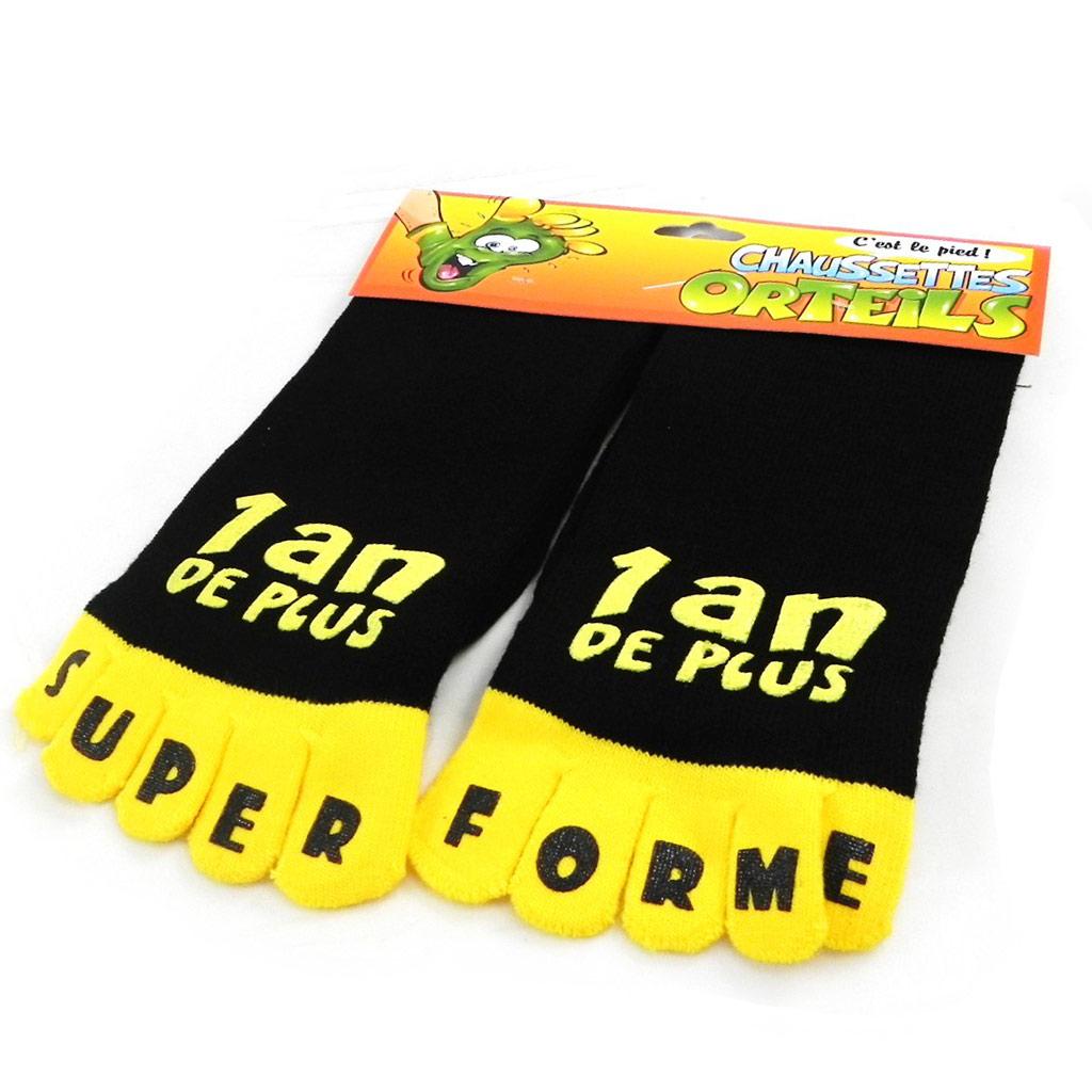 Chaussettes anniversaire \'1 an de plus\' noir jaune - [I2509]