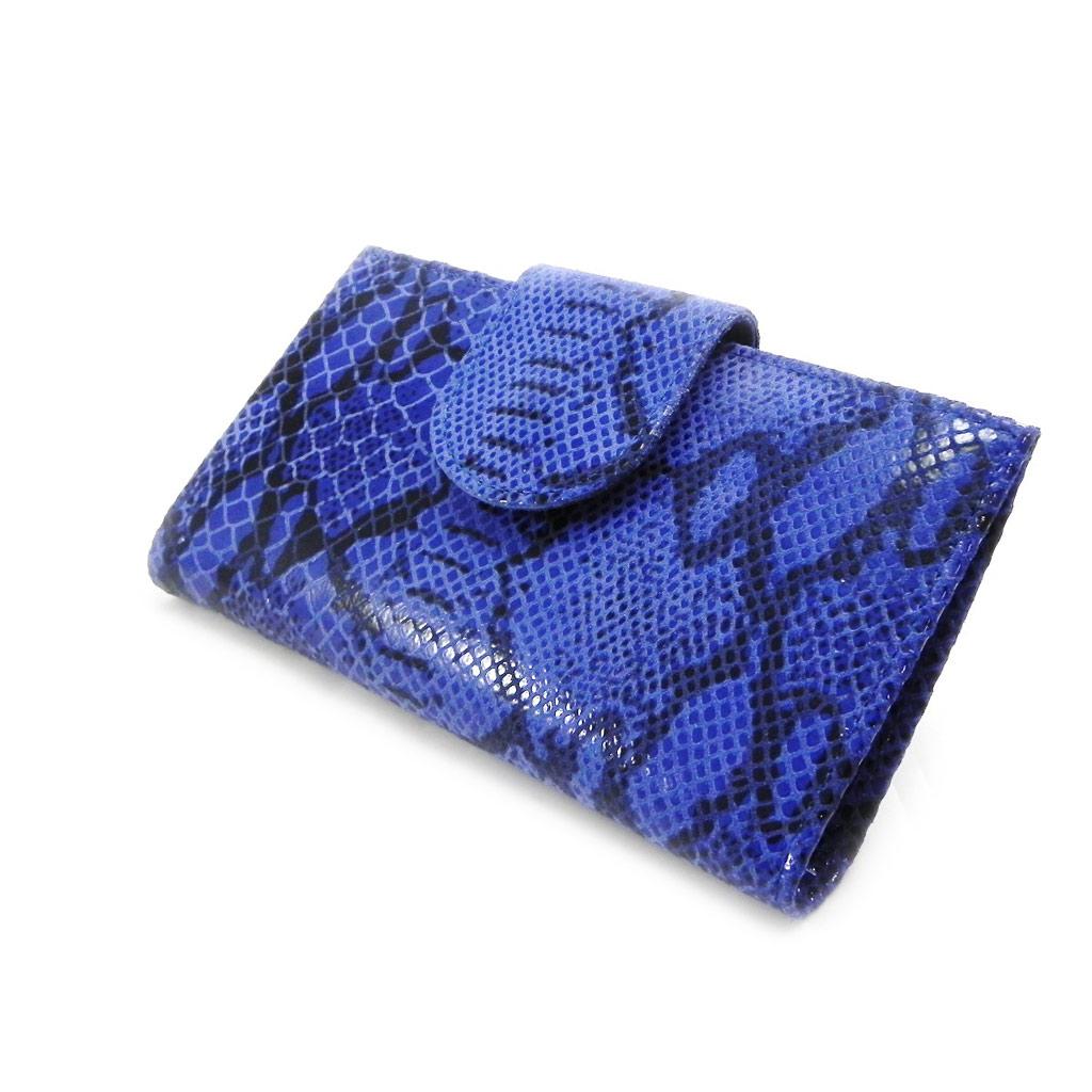 Porte-Chéquier Cuir \'Frandi\' bleu (motif python)  - [I2530]
