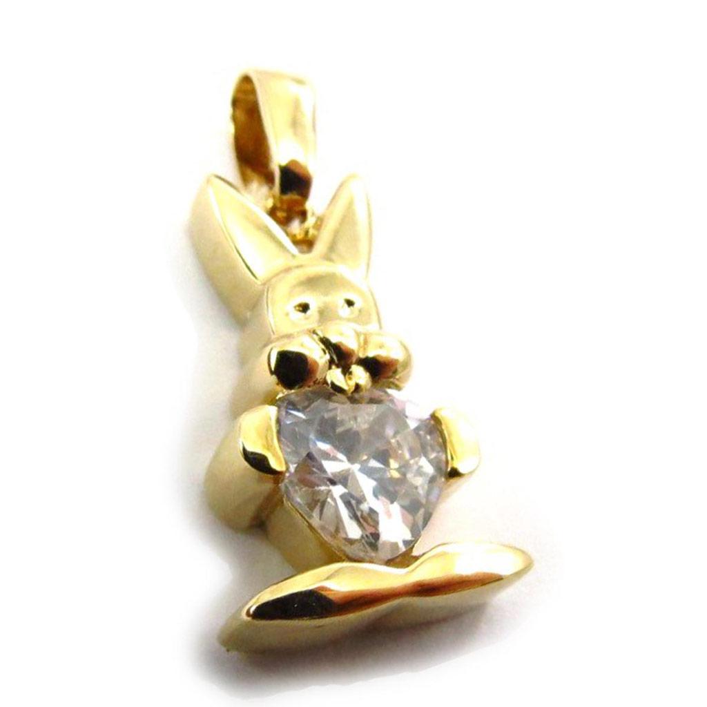 Pendentif Plaqué Or \'Bunny Love\' blanc - [G1707]