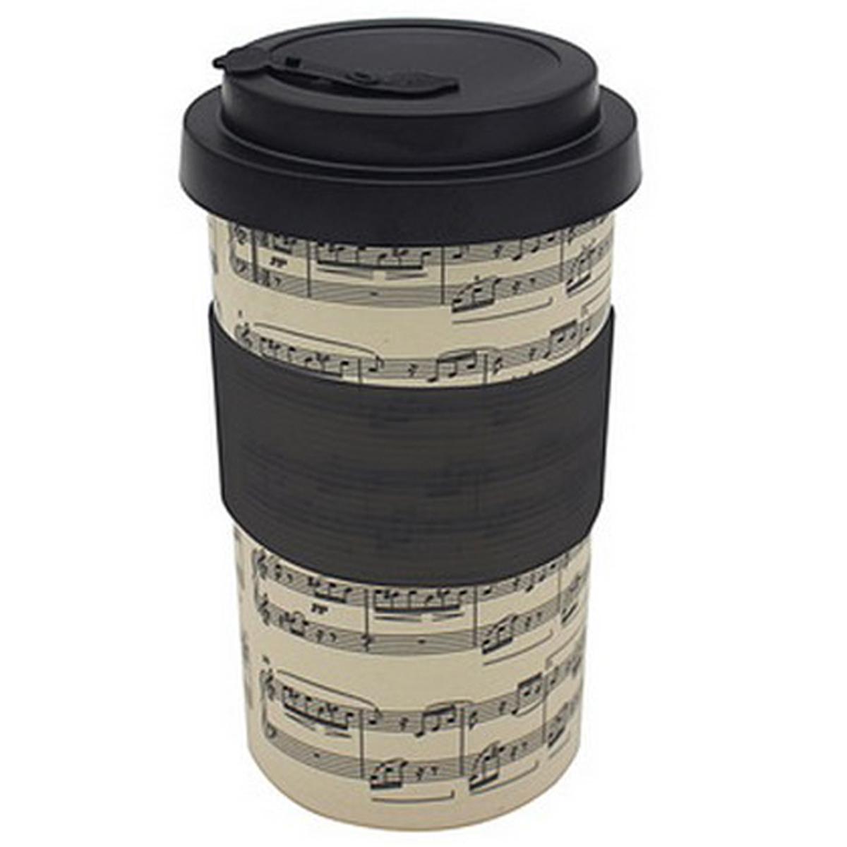 Mug de transport bambou \'Musique\' beige noir - 125x8 cm - [R0470]