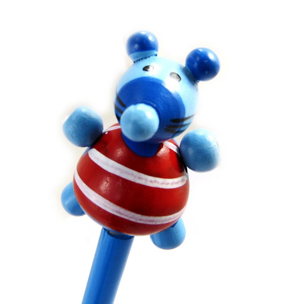 Crayon bois \'Animaux\' souris bleu - [M1389]
