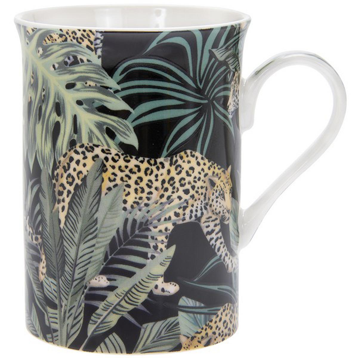 Mug porcelaine \'Jungle Fever\' vert noir - 10x75 cm (léopard) - [R0474]
