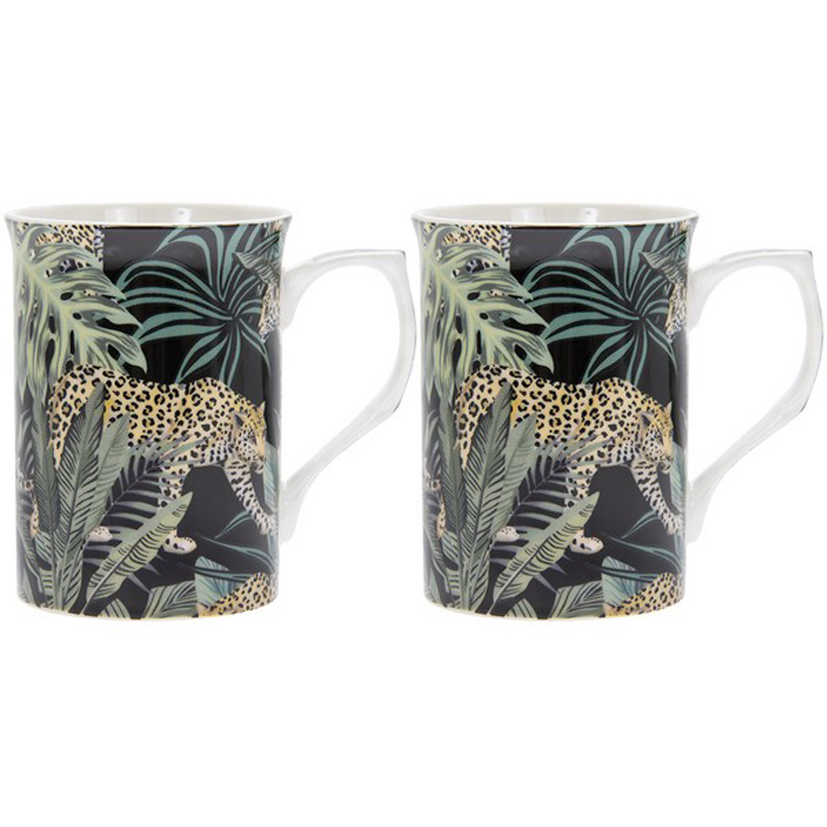 Coffret 2 mugs porcelaine \'Jungle Fever\' vert noir - 10x75 cm (léopard) - [R0475]