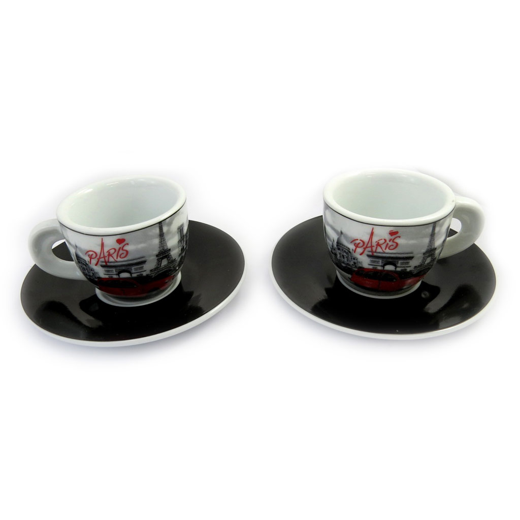 Coffret 2 tasses à café \'Week-end à Paris\' noir blanc rouge (vintage) - [M1395]