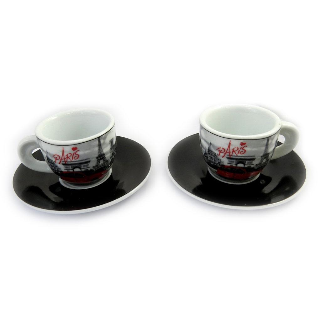 Coffret 2 tasses à café \'Week-end à Paris\' noir blanc rouge (vintage) - [M1395]