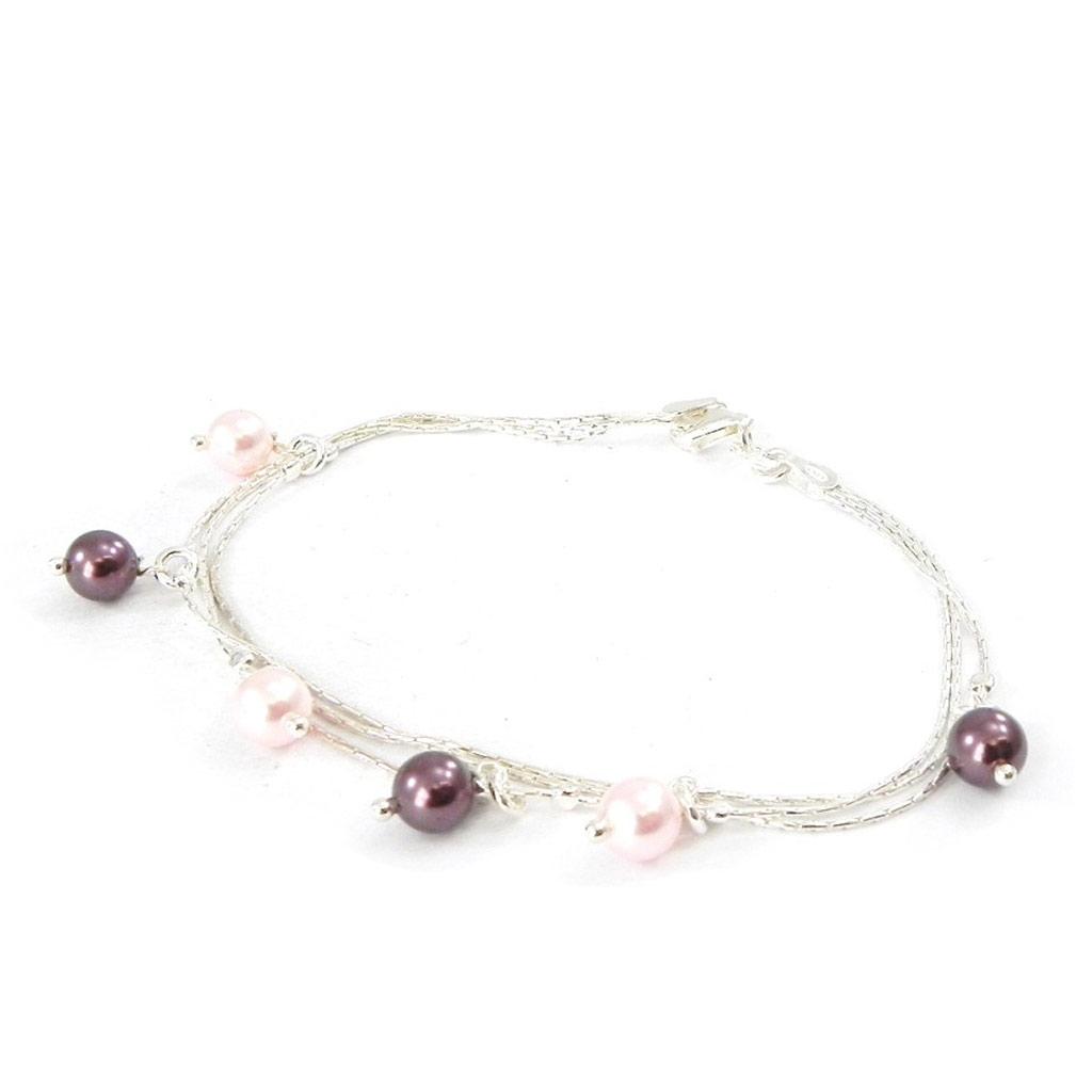Bracelet Argent \'Sissi\' rose violet - [G1727]