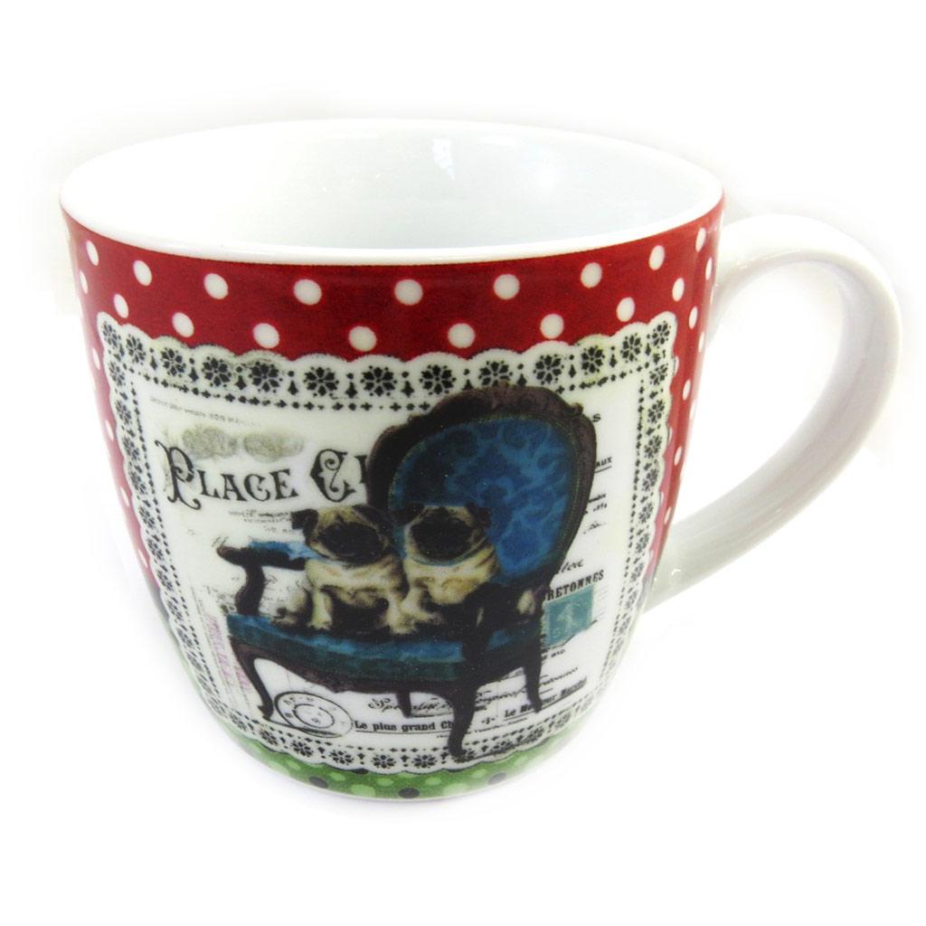 Mug porcelaine \'Belle Epoque\' rouge blanc (chiens) - [M1397]