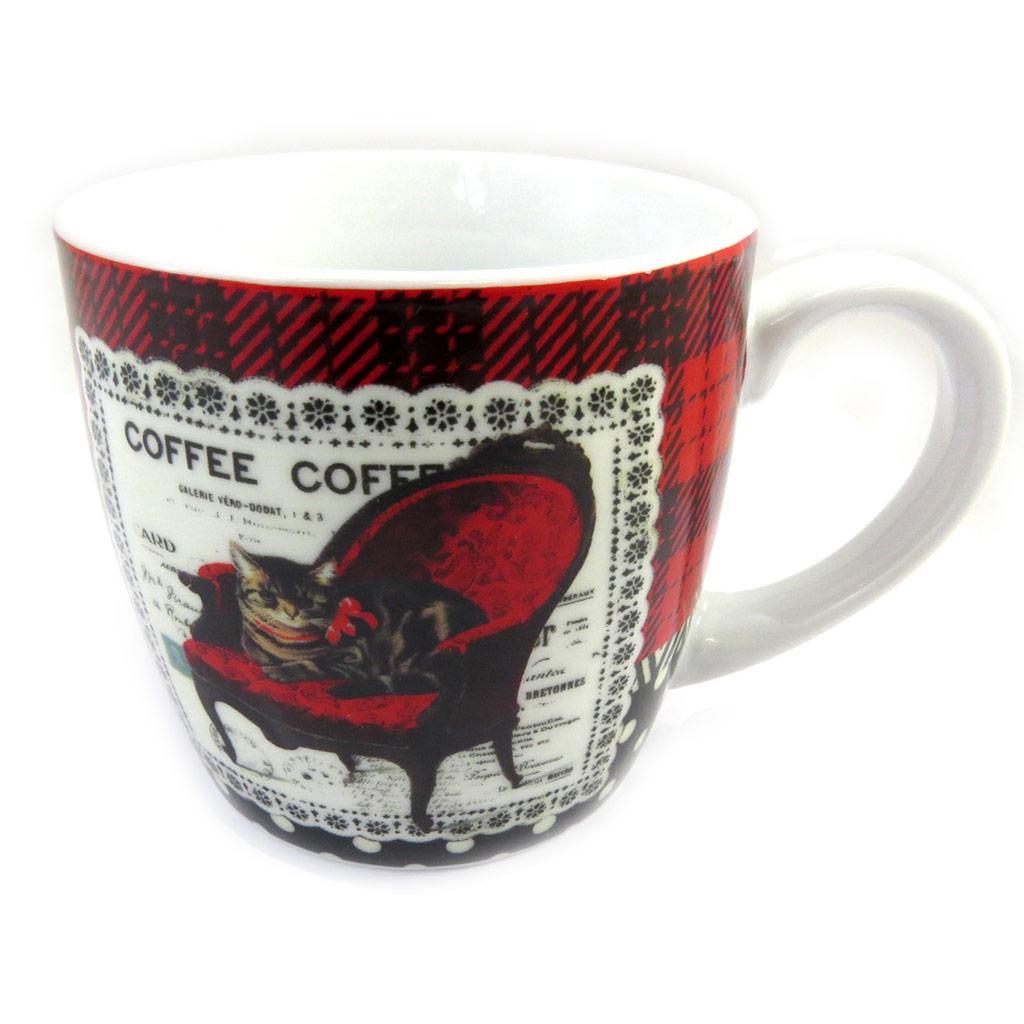 Mug porcelaine \'Belle Epoque\' rouge blanc (chat) - [M1398]