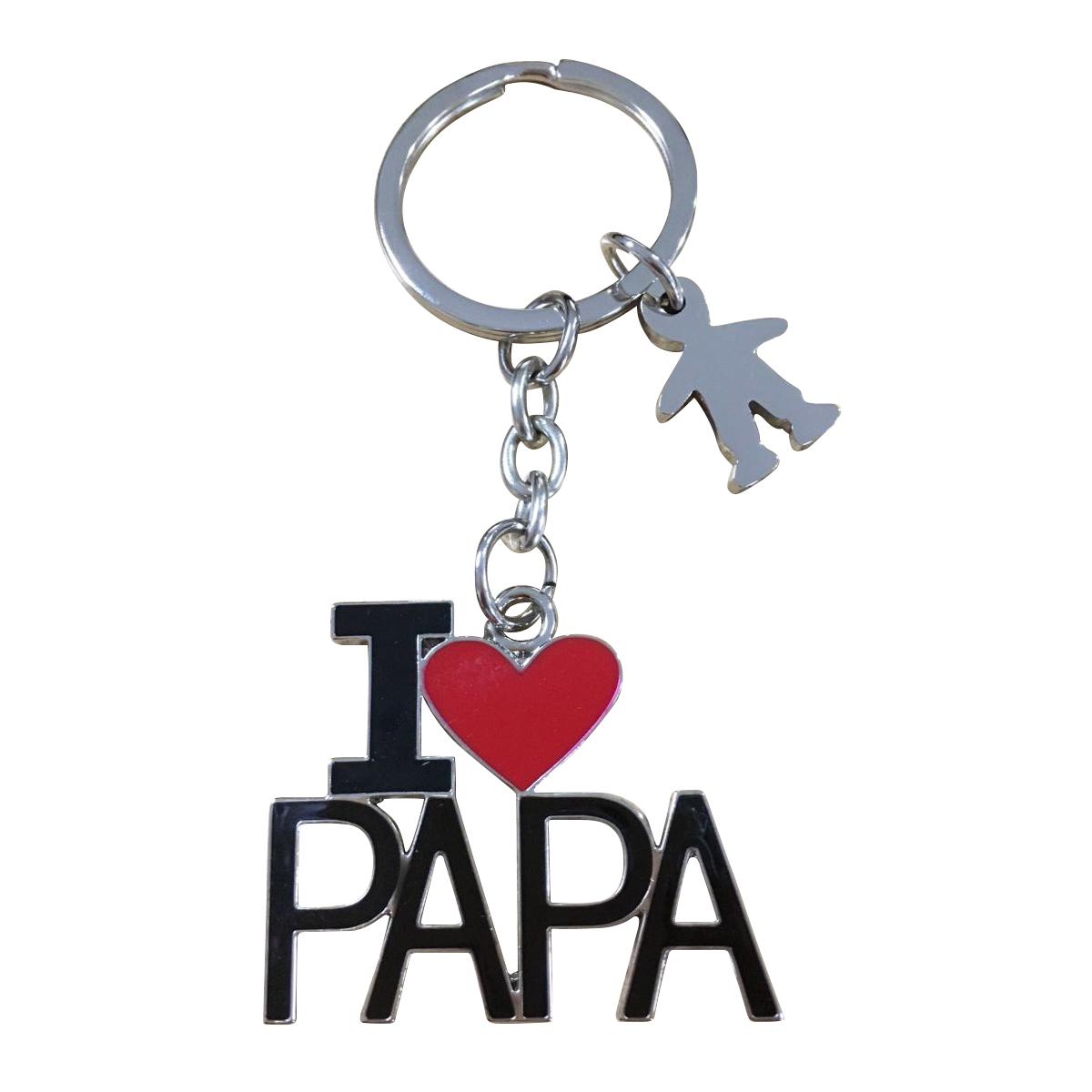 Porte-Clés \'I Love Papa\' noir rouge argenté - 7 cm - [R0486]