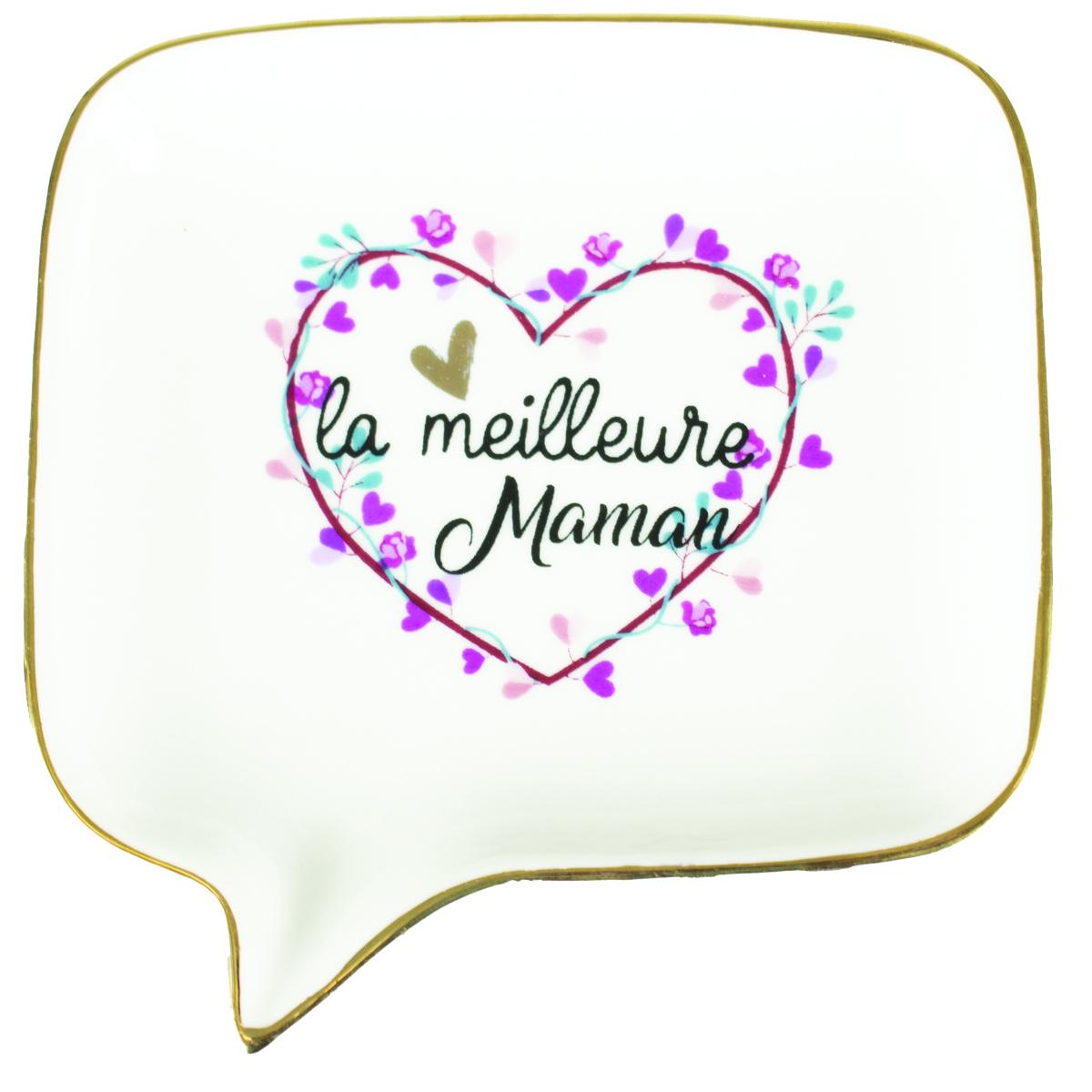 Coupelle vide-poches céramique \'La Meilleure Maman\' blanc rose - 115x113x2 cm - [R0488]