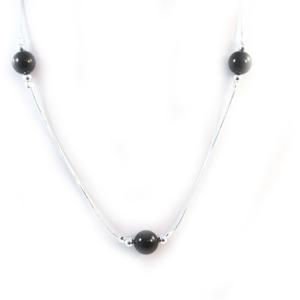 Collier Argent \'Ruth\' onyx - [G1766]
