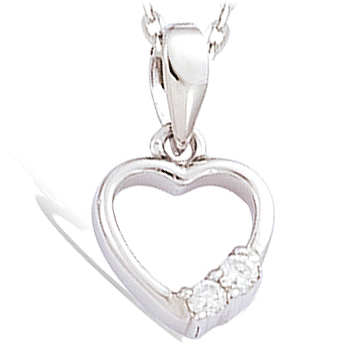 Pendentif Argent \'Coeurs de Charme\' blanc argenté (rhodié) - 10x8 mm - [F6309]