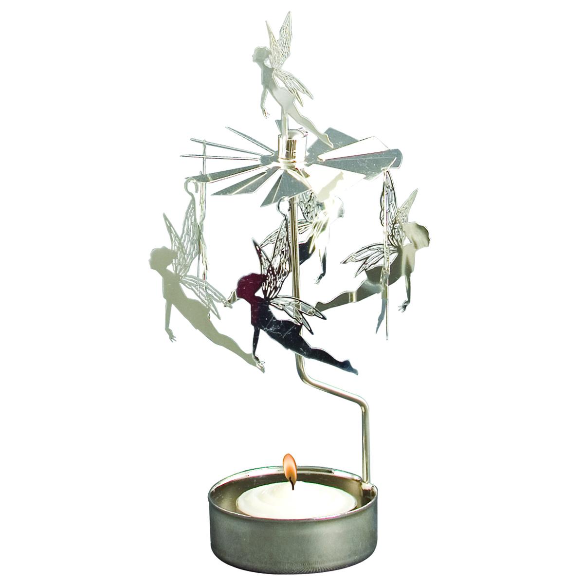 Bougeoir carrousel métal \'Fairy Dreams\' argenté - 16x65 cm - [R0551]
