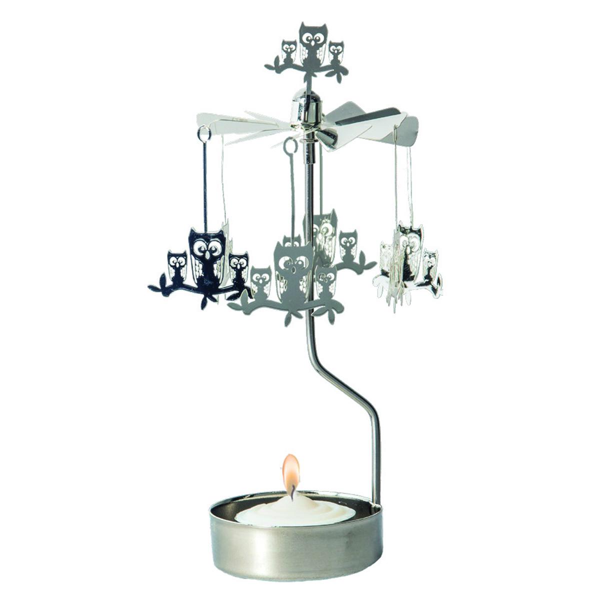 Bougeoir carrousel métal \'Famille Hiboux\' argenté - 16x65 cm - [R0558]