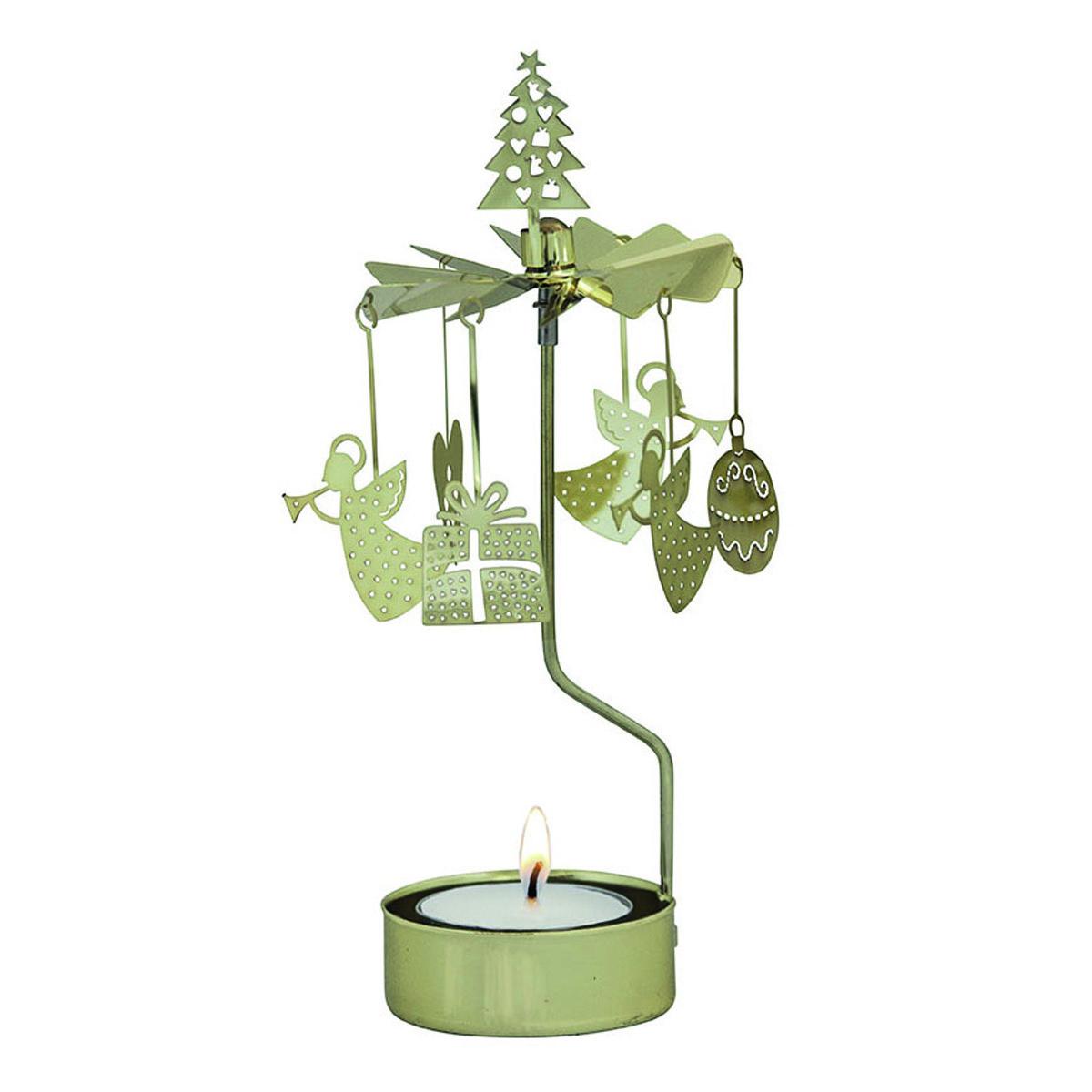 Bougeoir carrousel métal \'Joyeux Noël\' doré - 16x65 cm - [R0561]