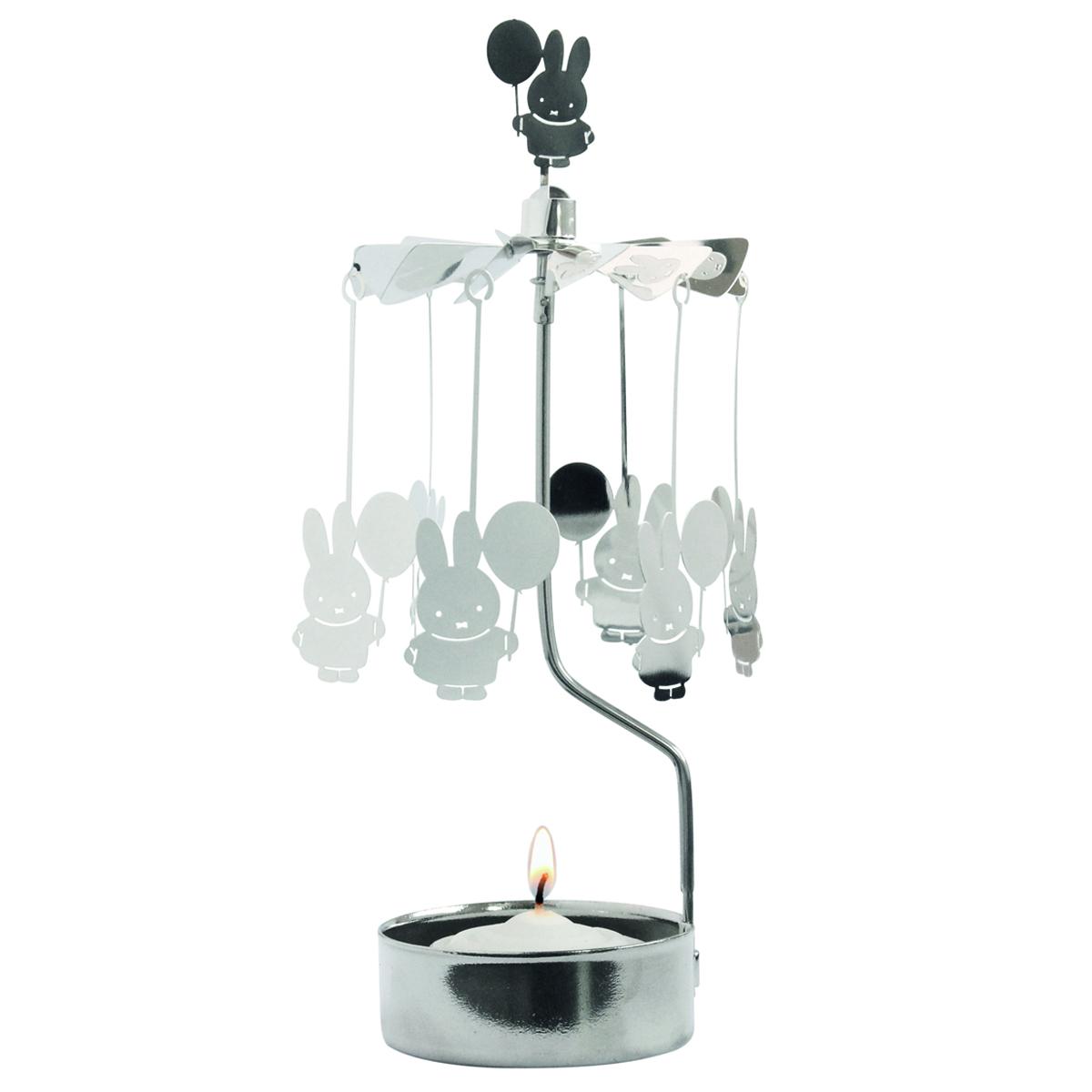 Bougeoir carrousel métal \'Miffy\' argenté (ballon) - 16x65 cm - [R0563]