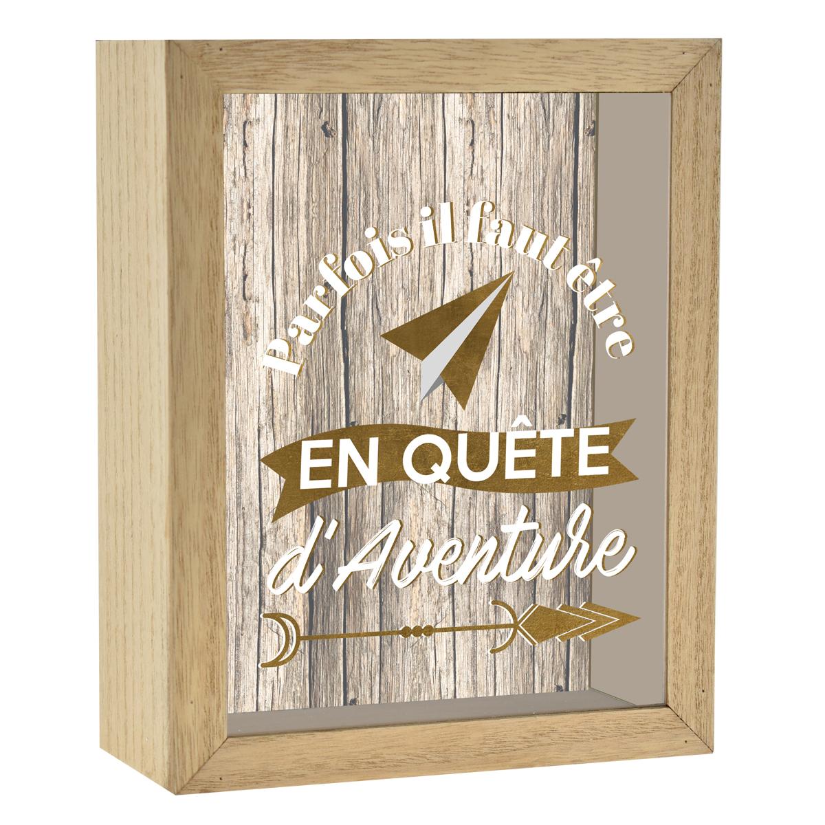 Tirelire bois \'Messages\' marron (Parfois il faut être en quête d\'Aventure) - 20x16x7 cm - [R0572]