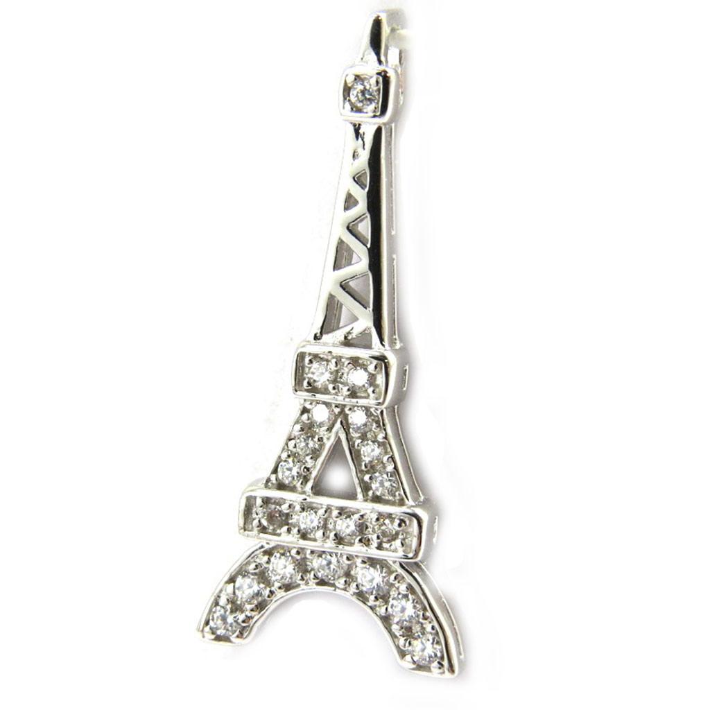 Pendentif Argent \'Tour Eiffel\' blanc - [M1715]