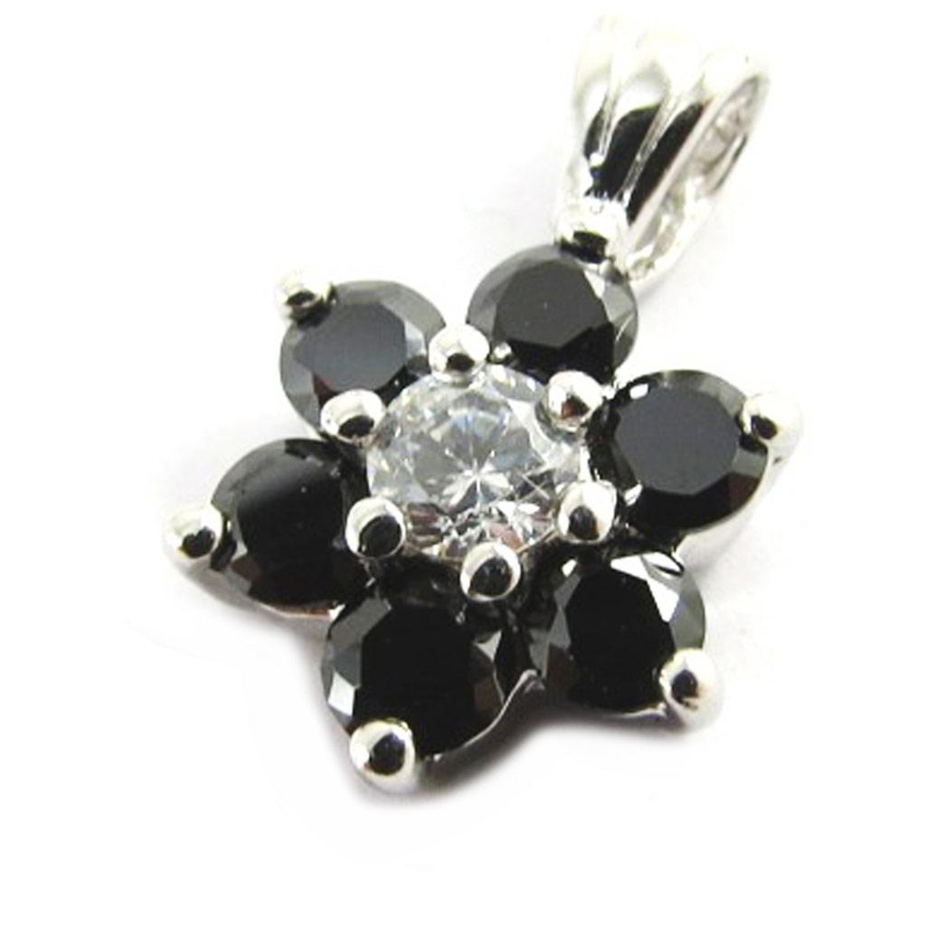 Pendentif argent \'Fleur de Cristal\' noir - [M1730]
