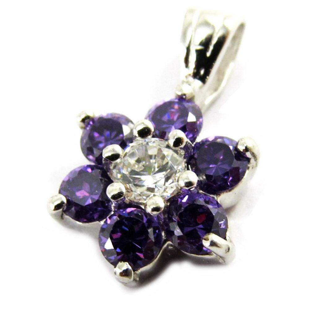 Pendentif argent \'Fleur de Cristal\' violet - [M1731]