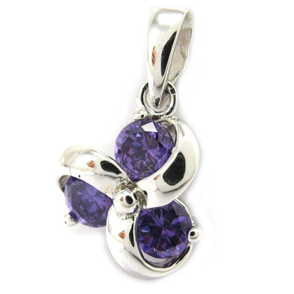 Pendentif argent \'Fleur de Cristal\' violet - [M1732]