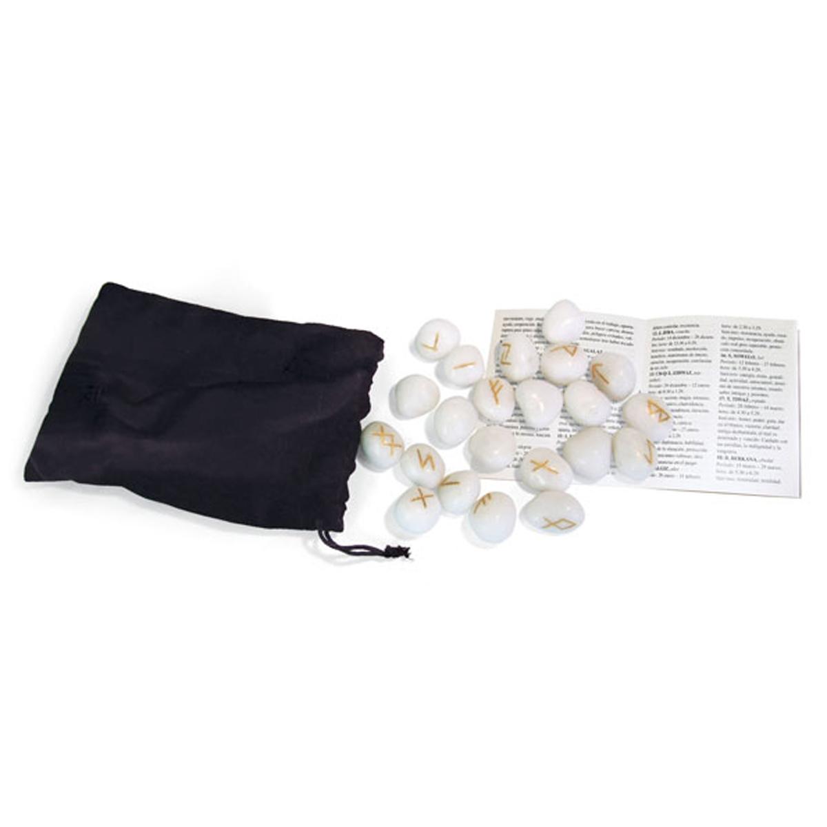 Coffret \'Runes\' onyx blanc (concentration, créativité, méditation) - [R0600]
