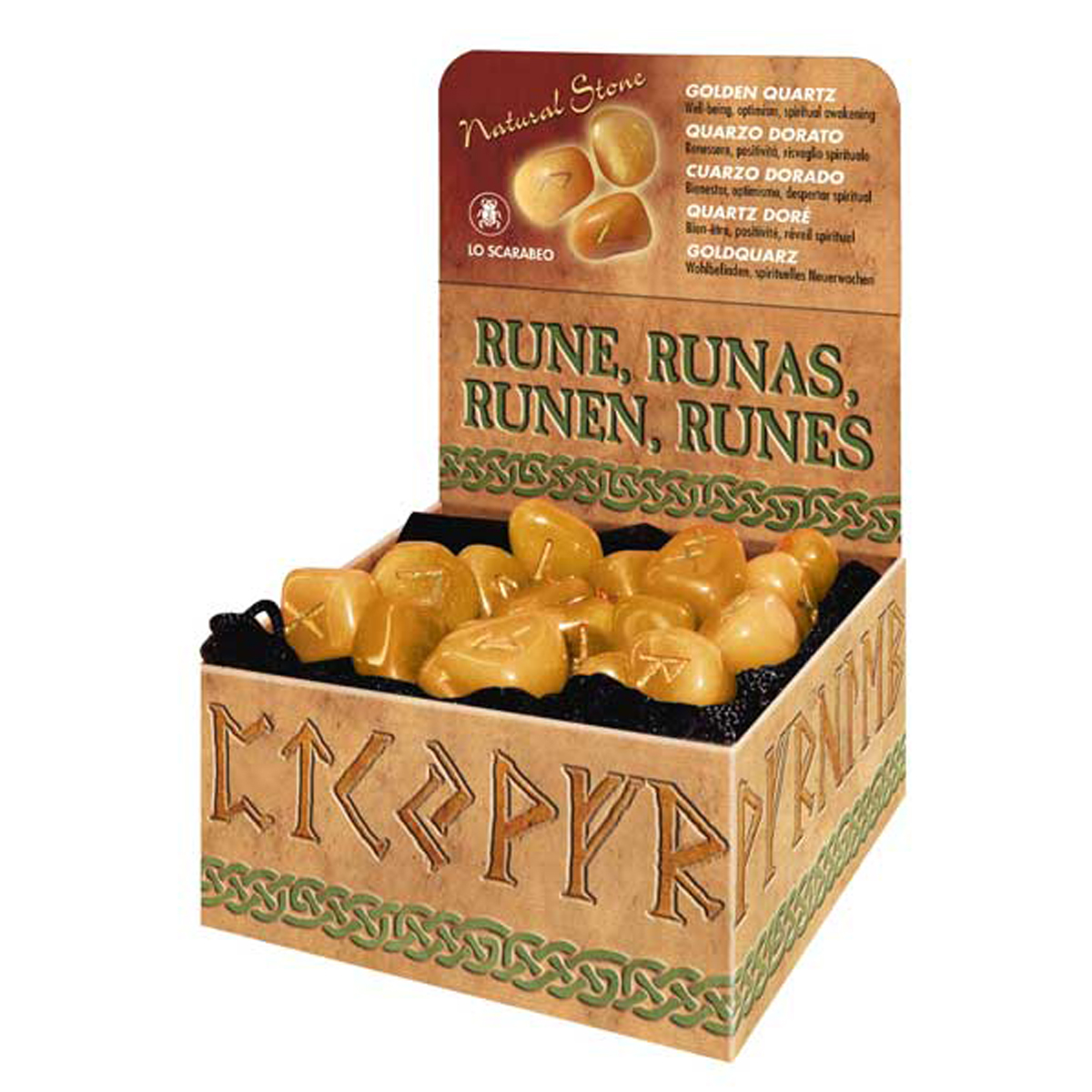 Coffret \'Runes\' quartz doré (bien-être, positivité, réveil spirituel) - [R0601]