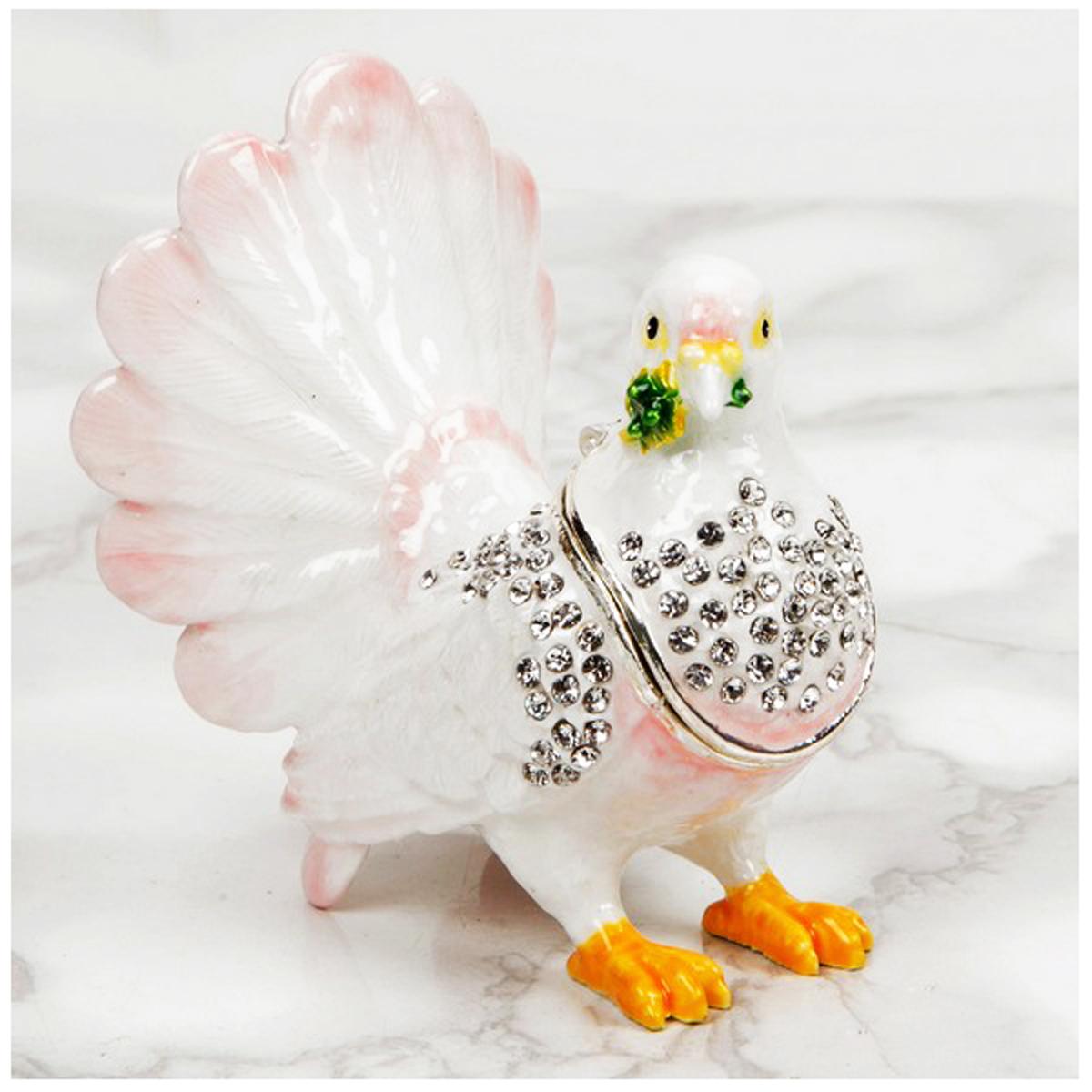 Coffret à Bijoux \'Colombe\' blanc rose - 6x7 cm - [R0607]