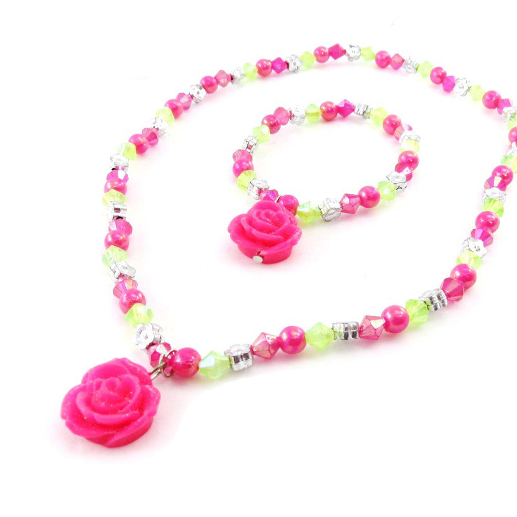 Parure \'Princesse\' rose vert - [J2003]