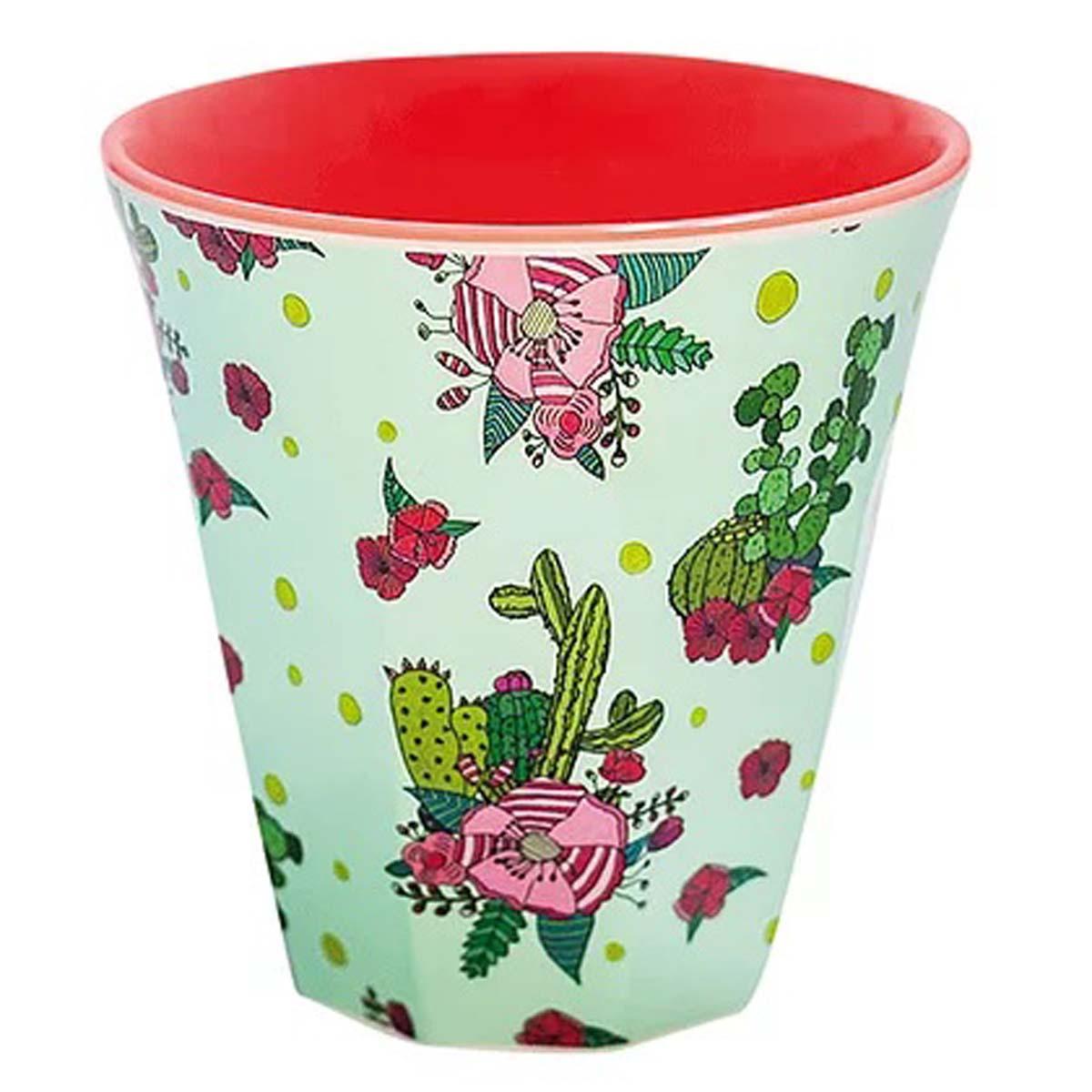 Gobelet mélamine \'Saperlipopette\' vert rouge (cactus) - 75x75 cm - [R0629]